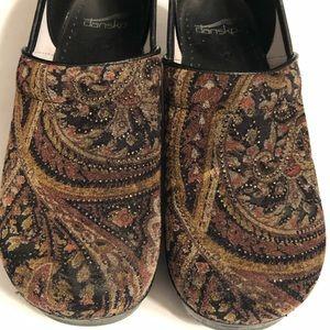 Dansko Paisley Velvet Clogs Shoes Glitter